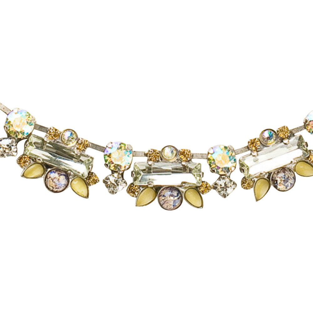 Sorrelli Crystal Baguette and Semi-Precious Cluster Line Necklace in Lemonade
