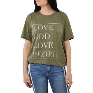 "Womens Brother's ""Love God Love People"" Tee in Olive - Brother's on the Boulevard"