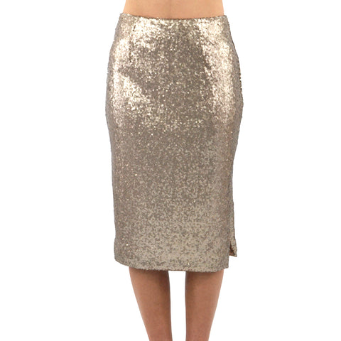 Catherine Kate Grand Sequin Skirt in Mocha