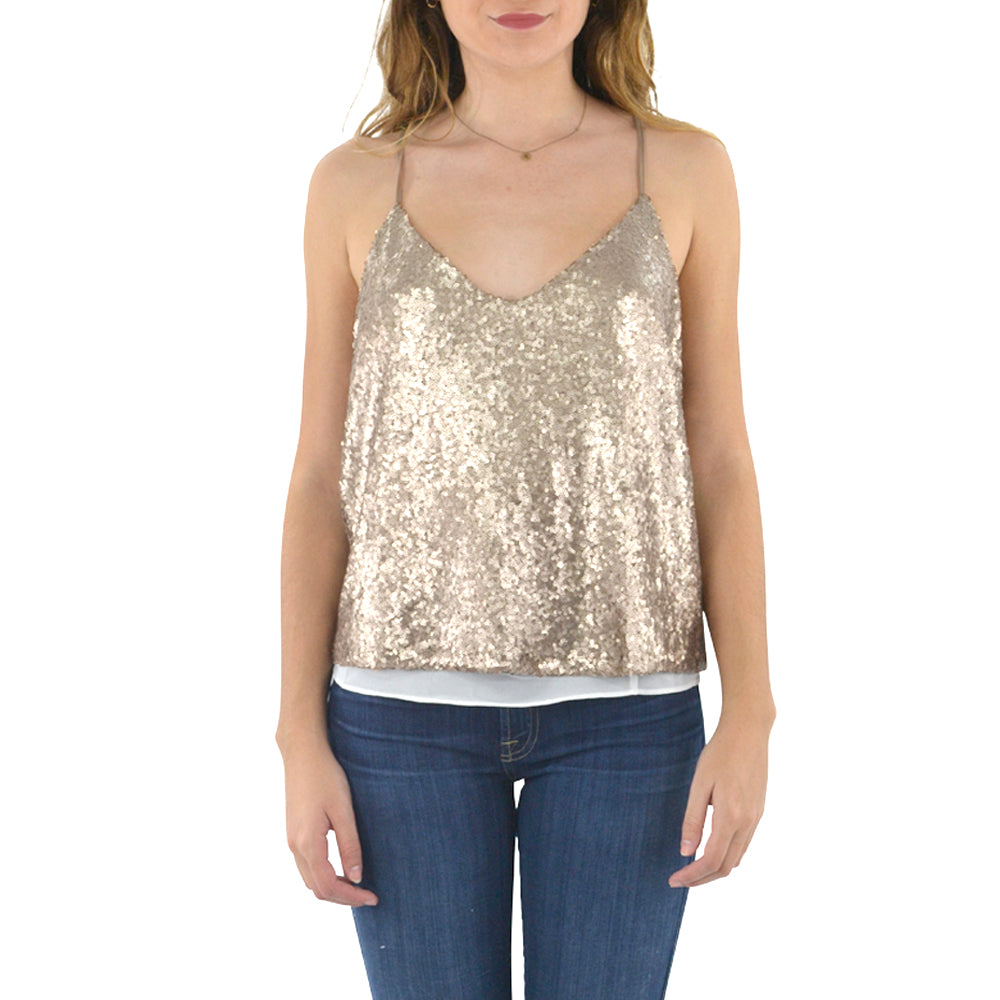 Womens Catherine Kate Grand Sequin Cami in Mocha - Brother's on the Boulevard