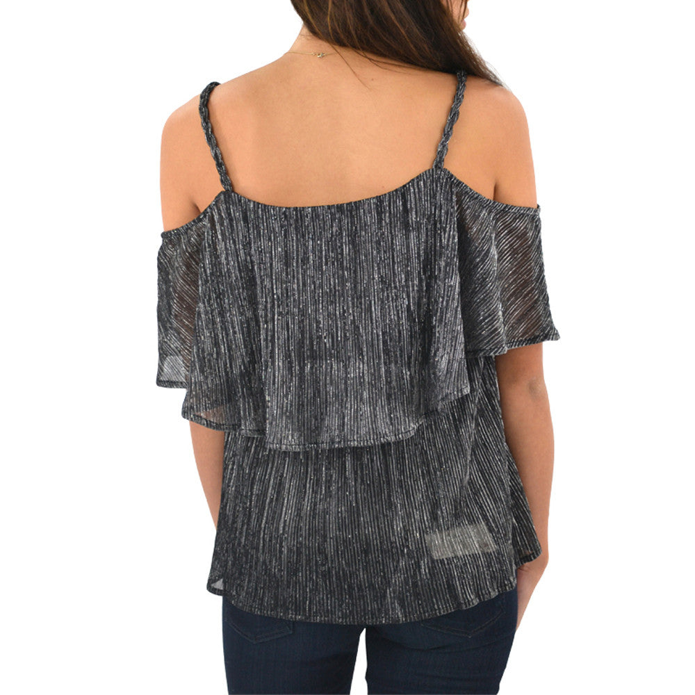 Womens Ella Moss Cerine Cold Shoulder Tier Top in Black - Brother's on the Boulevard