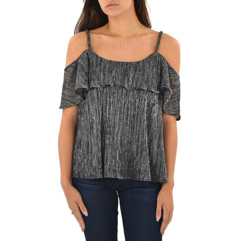 Ella Moss Cerine Cold Shoulder Tier Top in Black
