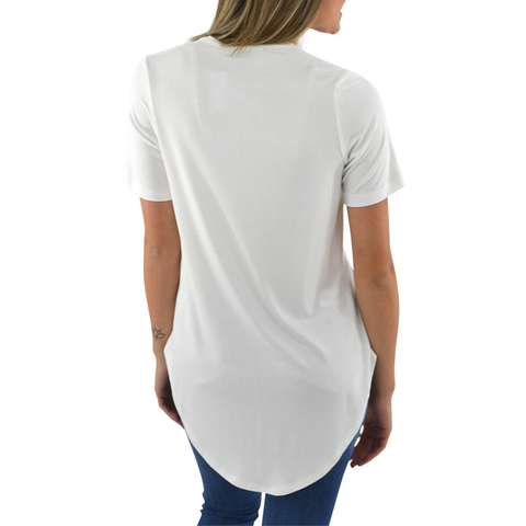 Fifteen Twenty Short Sleeve Shirttail Tee in Off White
