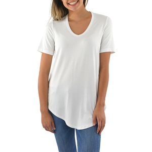 Womens Fifteen Twenty Short Sleeve Shirttail Tee in Off White - Brother's on the Boulevard