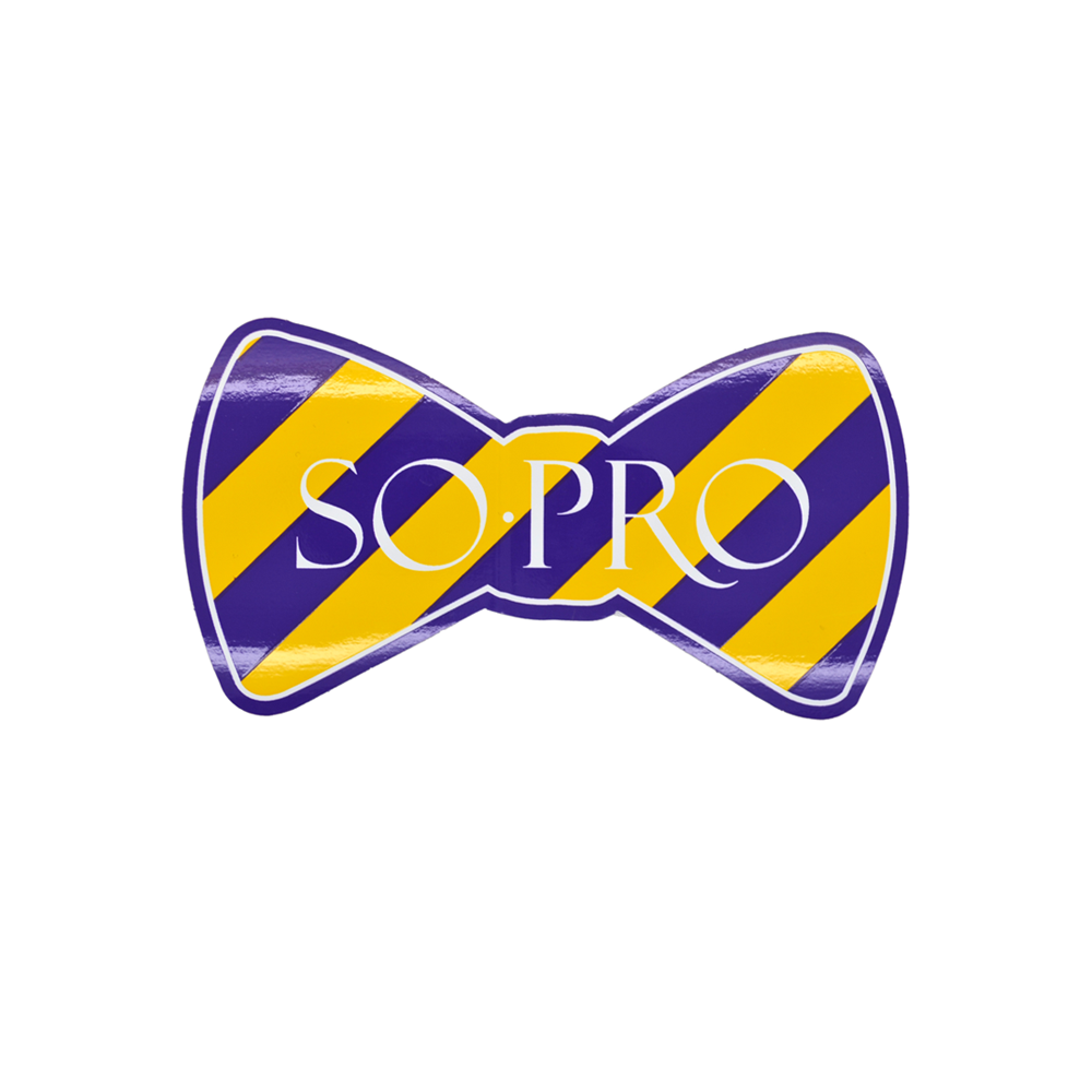 Mens Southern Proper SoPro Bowtie Sticker in Purple and Yellow - Brother's on the Boulevard