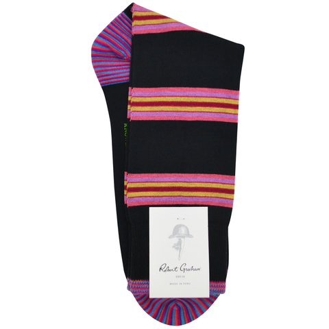 Mens Robert Graham Sawteeth Socks in Black - Brother's on the Boulevard