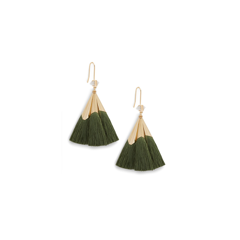 Ever Alice Studio Sonia Tassel Earrings in Hunter Green