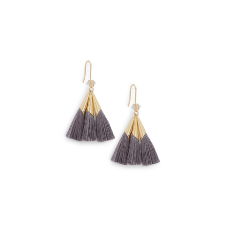 Womens Ever Alice Studio Sonia Tassel Earrings in Slate - Brother's on the Boulevard