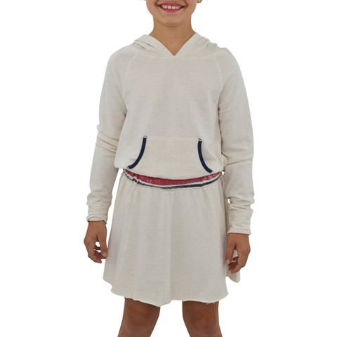 Tween Girls Splendid Speckle Sweatshirt Dress in Oatmeal