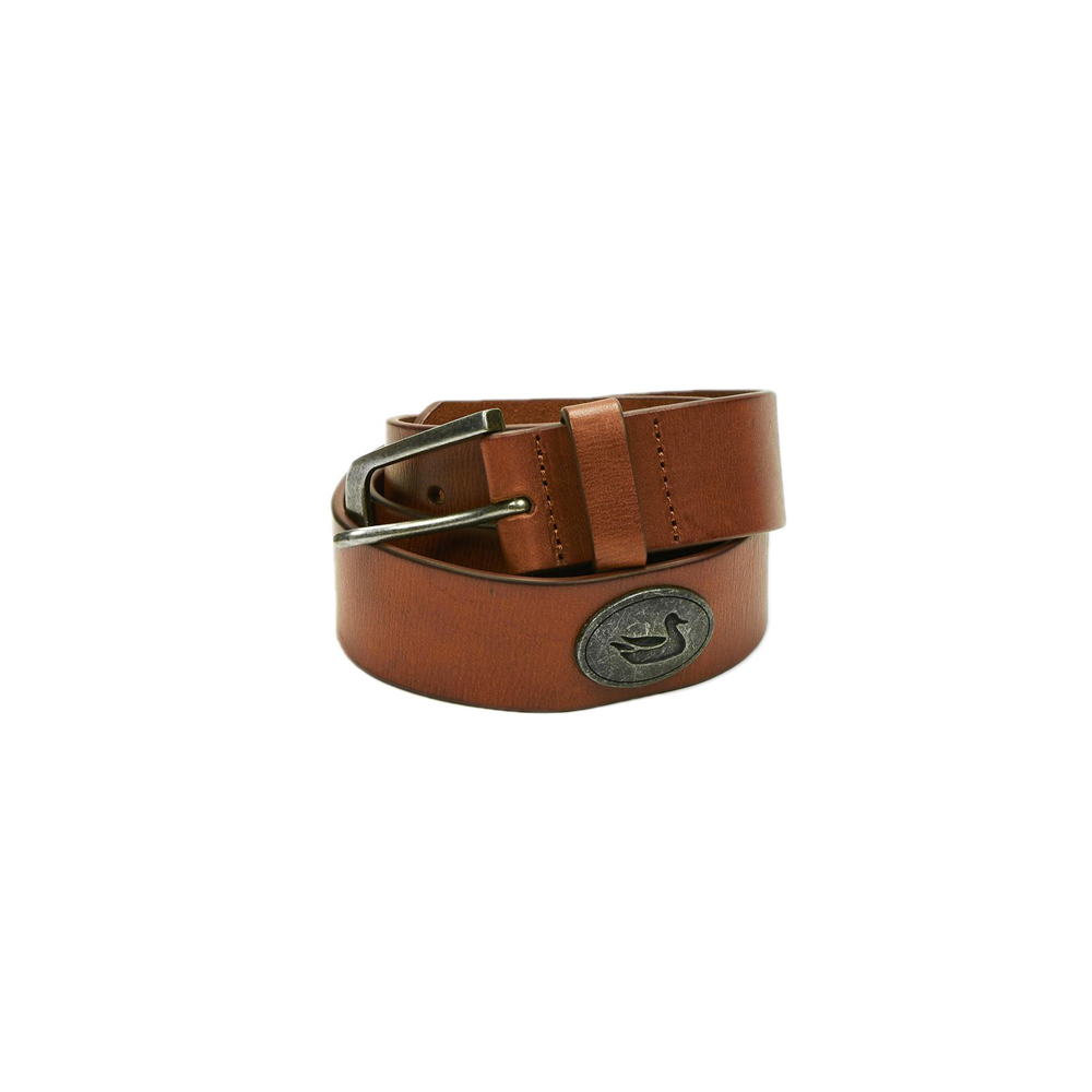 Mens Southern Marsh Heritage Medallion Leather Belt in Stone Brown with Gunmetal - Brother's on the Boulevard