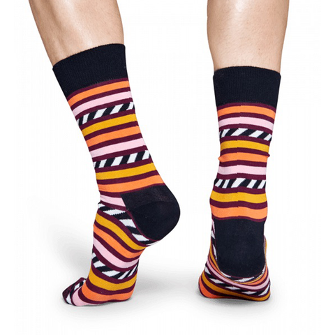 Mens Happy Socks Stripes and Stripes Sock in Orange and Black - Brother's on the Boulevard