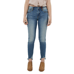Womens Driftwood Jackie Stud Mid Rise Skinny Ankle in Brick - Brother's on the Boulevard