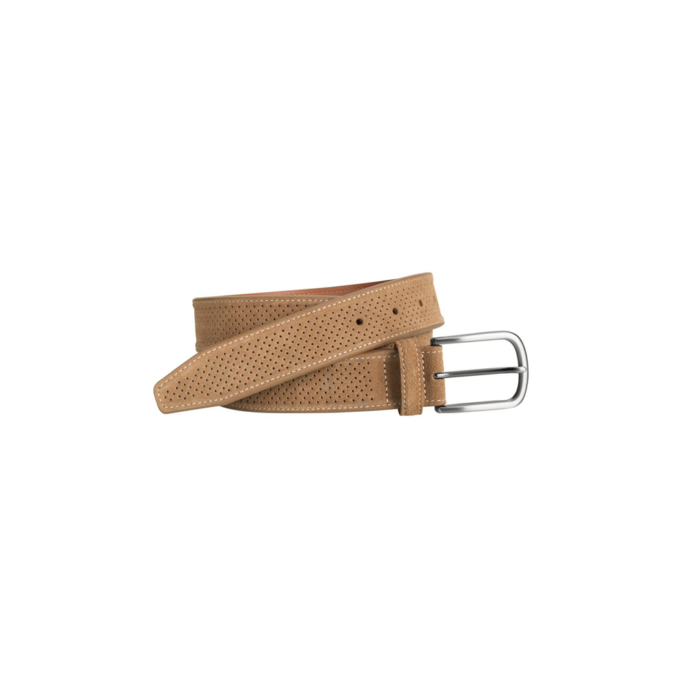 Mens Johnston and Murphy Perforated Suede Belt in Tan - Brother's on the Boulevard