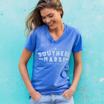 Womens Southern Marsh Danielle V-Neck Tee in Oxford Blue - Brother's on the Boulevard