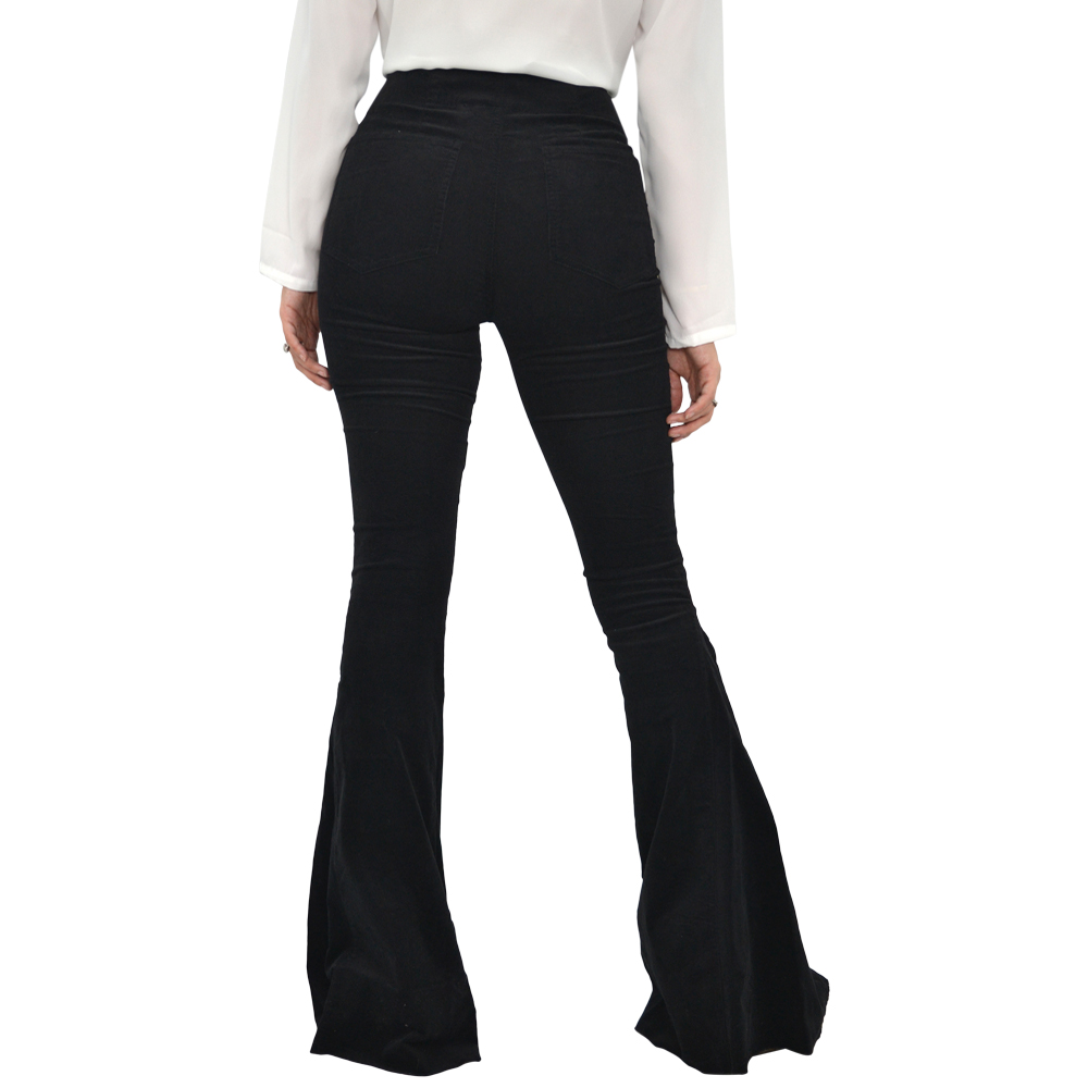 Womens Weekend Vibes Pull on Bell Bottom Pant in Black - Brother's on the Boulevard
