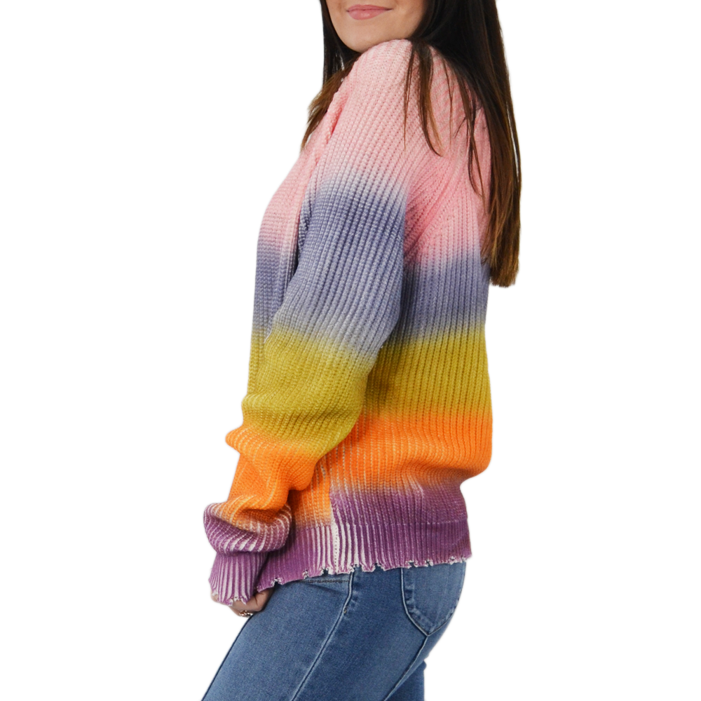 Womens Rouge Long Sleeve V-Neck Sweater in Rainbow - Brother's on the Boulevard