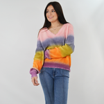 Rouge Long Sleeve V-Neck Sweater in Rainbow