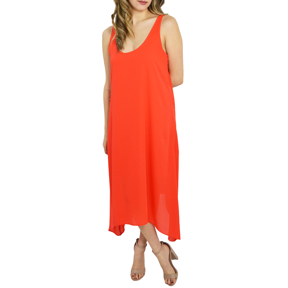 Catherine Kate Cara Hi Low Midi Dress in Orange