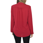 Womens Poche 1913 Long Sleeve Rowen Surplice Blouse in Ruby - Brother's on the Boulevard