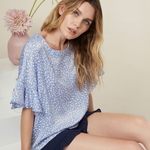 Three Eighty Two Joss Ruffle Blouse in Sky