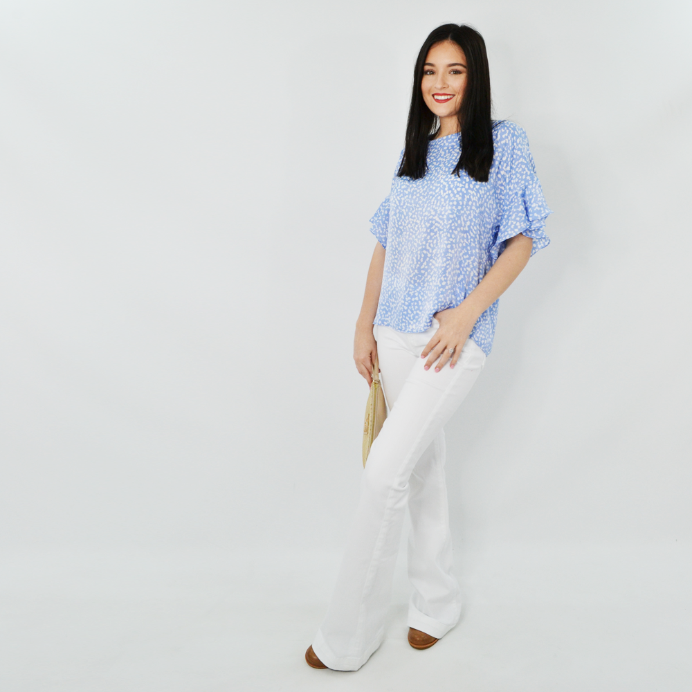 Womens Three Eighty Two Joss Ruffle Blouse in Sky - Brother's on the Boulevard