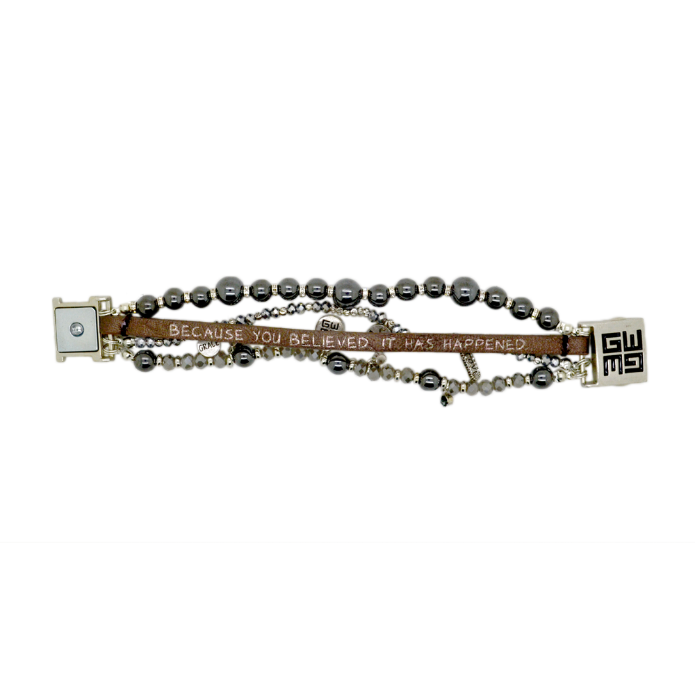 Womens Good Works Because You Believed Bracelet in Gunmetal - Brother's on the Boulevard