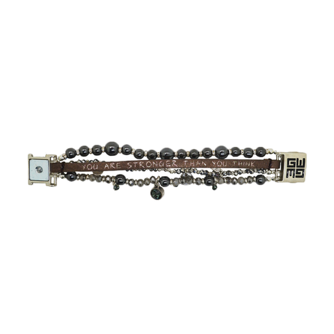 Womens Good Works You Are Stronger Than You Think Bracelet in Gunmetal - Brother's on the Boulevard
