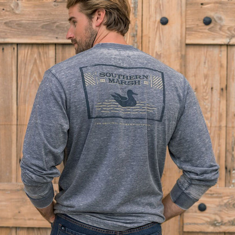 Mens Southern Marsh Seawash Pond Long Sleeve Tee in Washed Navy - Brother's on the Boulevard