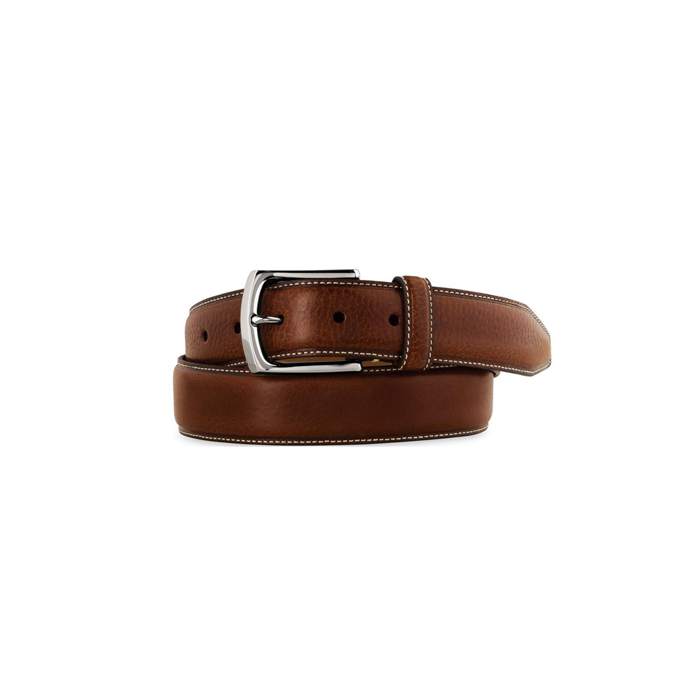 Mens Johnston & Murphy Top Stitched Leather Belt in Brown - Brother's on the Boulevard