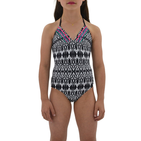 Ella Moss Tween Girls Tribal Dream Swimsuit in Black/White