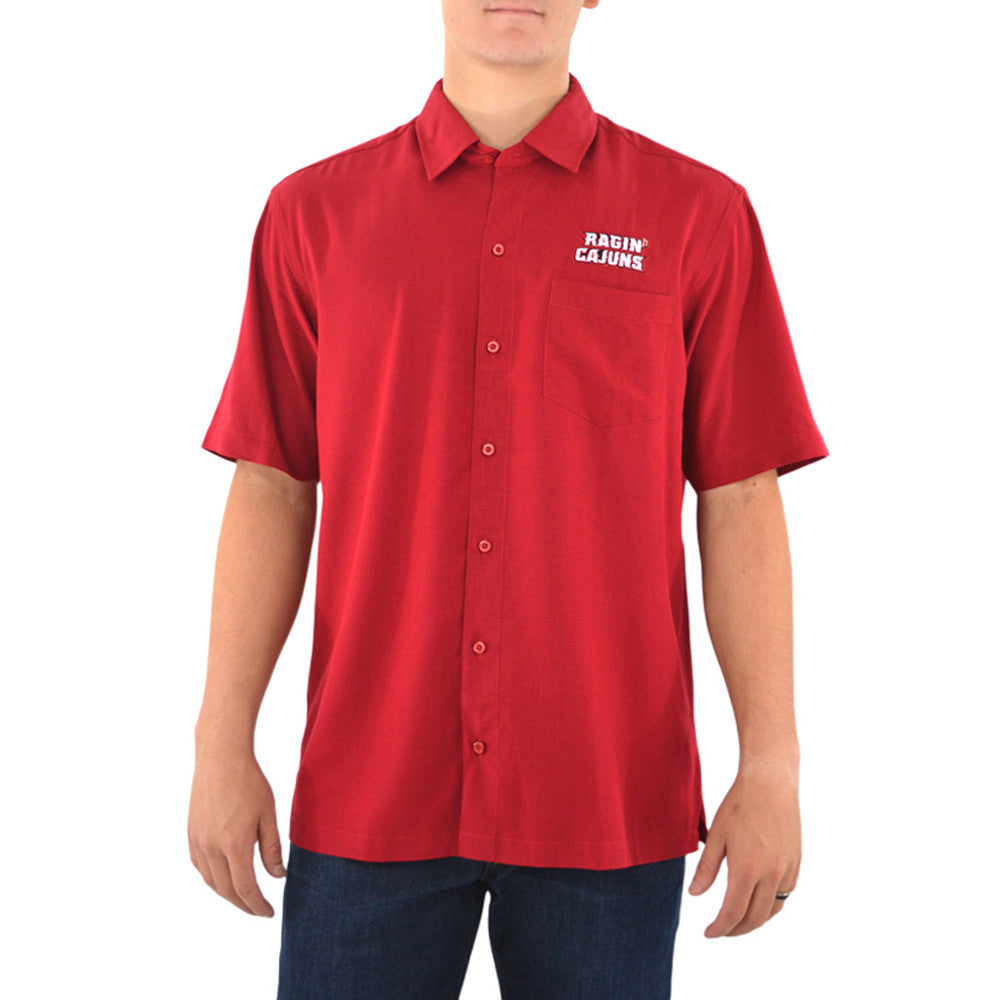 Cutter & Buck UL Ragin Cajuns Short Sleeve Solana Check Shirt in Cardinal Red