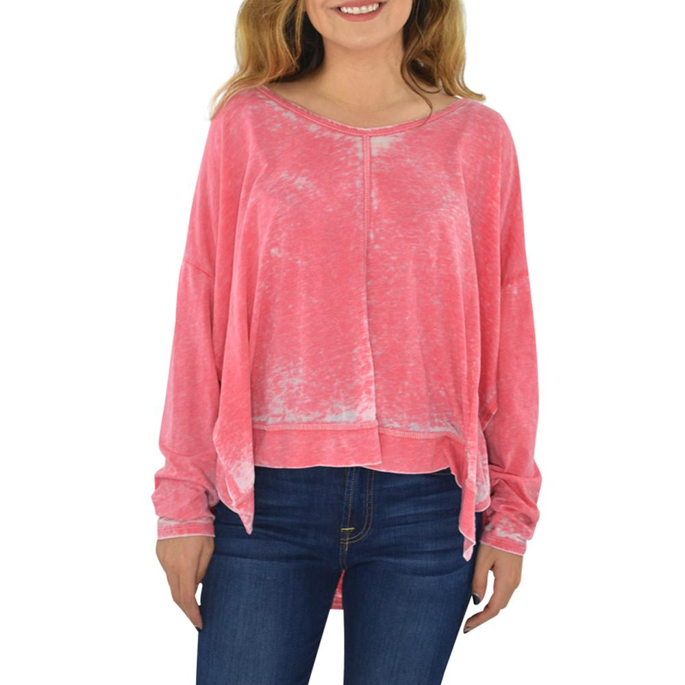 Womens Weekend Vibes Burn-Out V-Neck Tee in Coral - Brother's on the Boulevard