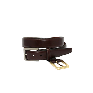 Mens Torino Cordovan Kipskin Belt with Double Buckle in Brown - Brother's on the Boulevard