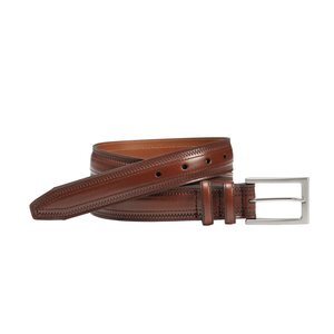 Mens Johnston and Murphy Picked Belt in Chestnut - Brother's on the Boulevard