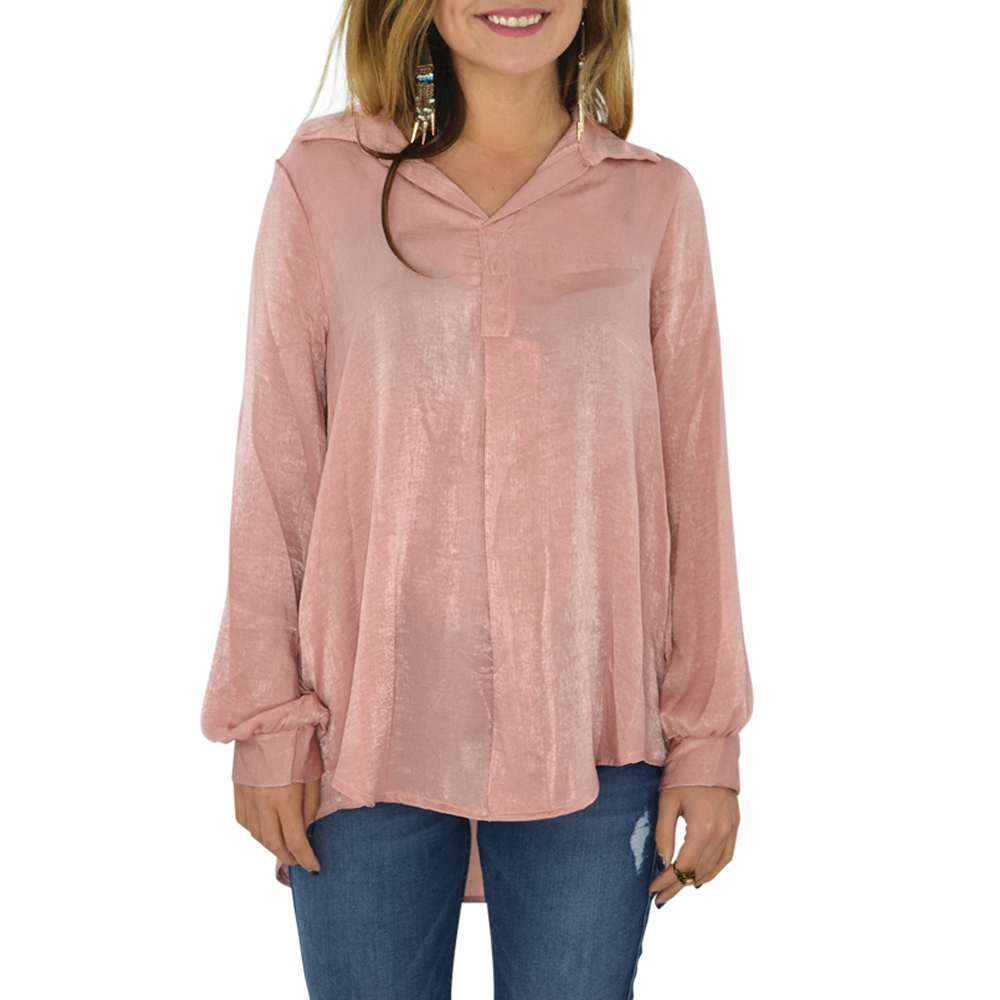 PPLA Bailyn Long Sleeve Top in Dusty Rose