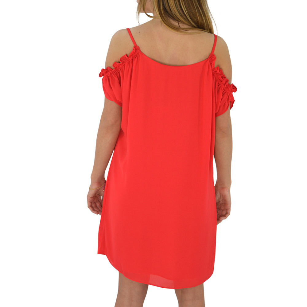 Womens Three Eighty Two Gigi Cold Shoulder Dress in Red - Brother's on the Boulevard