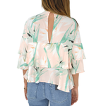 Womens Weekend Vibes Tropical Leaf Ruffle Top in Pink - Brother's on the Boulevard