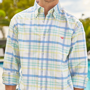 Mens Southern Marsh Belfort Oxford Button Down Shirt in Blue and Mint - Brother's on the Boulevard
