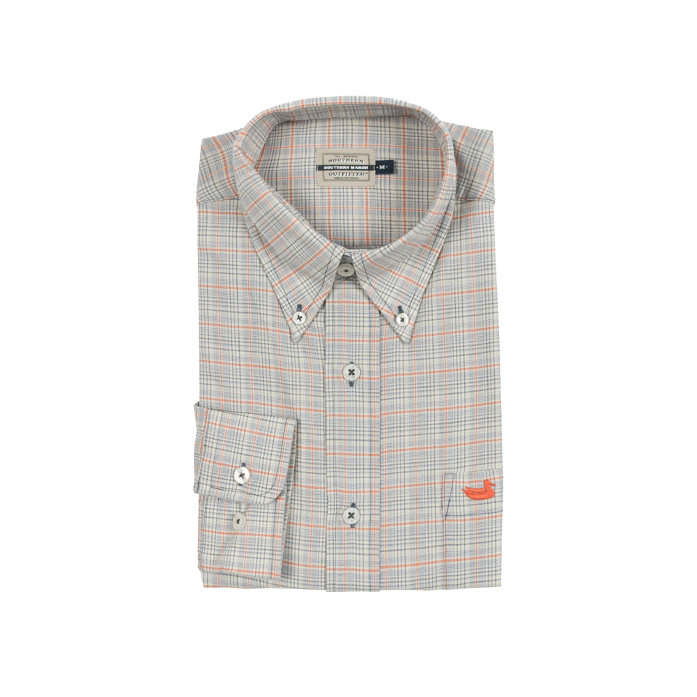 Mens Southern Marsh Davidson Washed Check Dress Shirt in Washed Slate and Burnt Orange - Brother's on the Boulevard