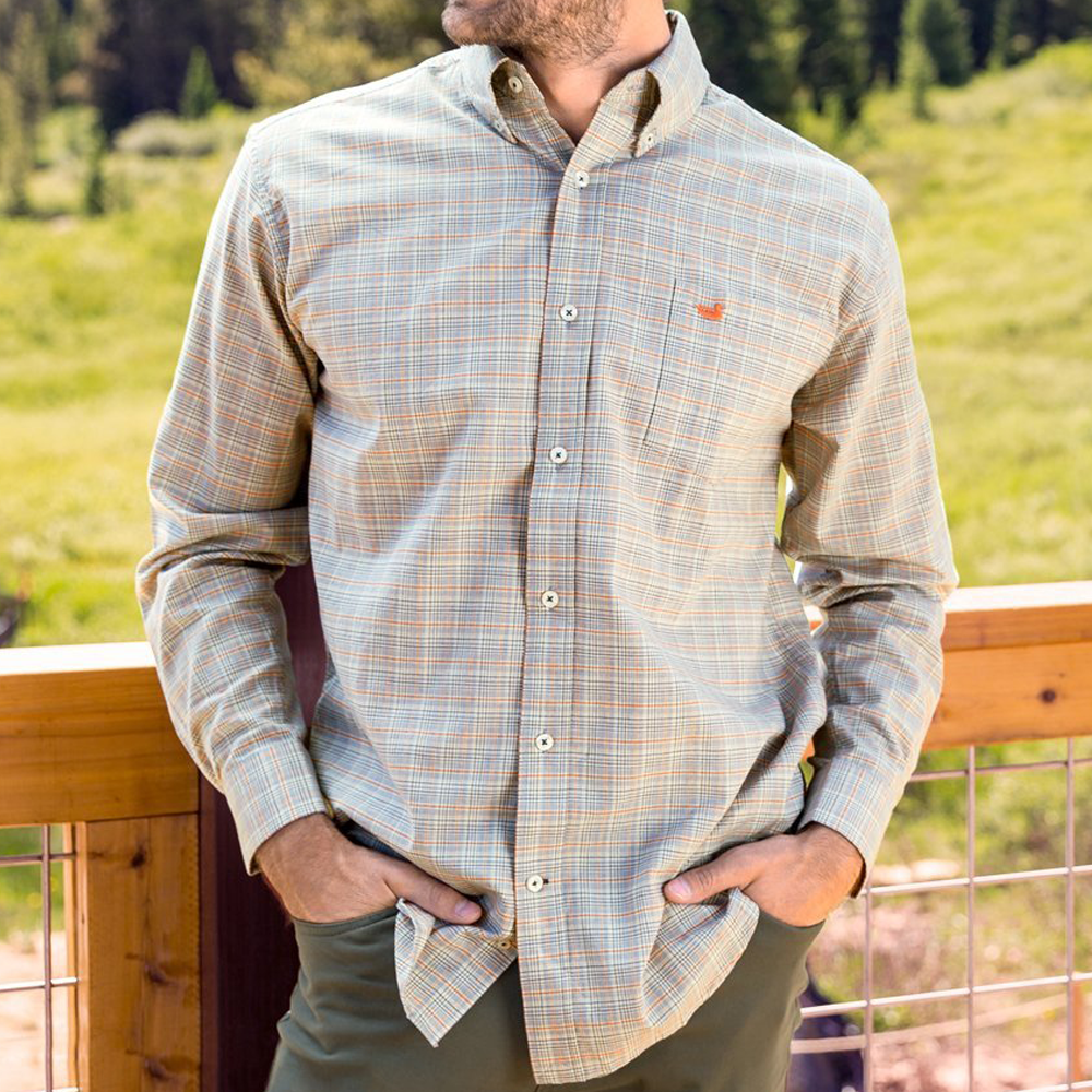 Southern Marsh Davidson Washed Check Dress Shirt in Washed Slate and Burnt Orange