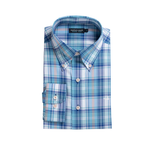 Southern Marsh Duluth Plaid Dress Shirt in Navy and Blue