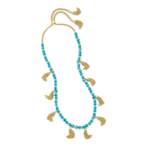 Womens Kendra Scott Vannina Gold Long Necklace in Turquoise - Brother's on the Boulevard