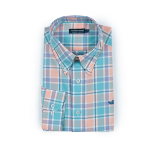 Mens Southern Marsh Brevard Plaid Dress Shirt in Peach and Sage - Brother's on the Boulevard