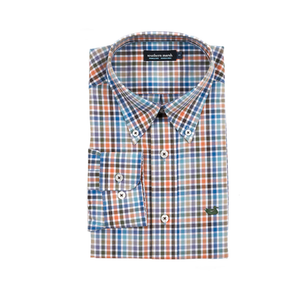 Mens Southern Marsh Juban Check Dress Shirt in Brown and Blue - Brother's on the Boulevard