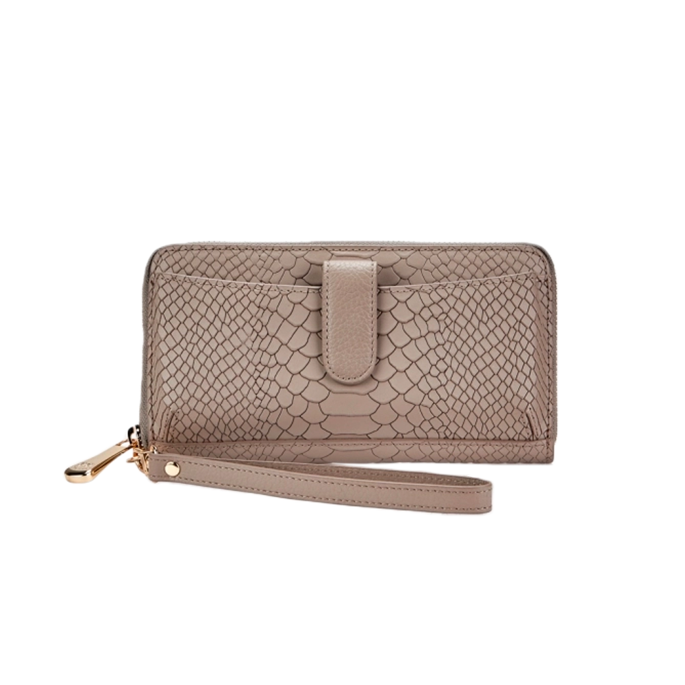 GiGi New York City Wallet in Stone Embossed Python