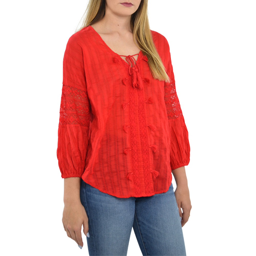 Womens Michael Stars Boho Blouse in Salsa - Brother's on the Boulevard