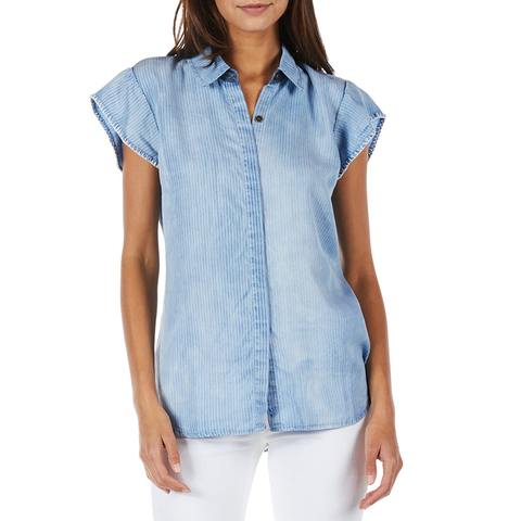 Womens Michael Stars Shirt Sleeve Denim Shirt in Stripe - Brother's on the Boulevard