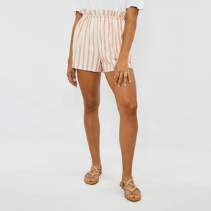 Womens Weekend Vibes Paperbag Waist Short in Ivory Red - Brother's on the Boulevard