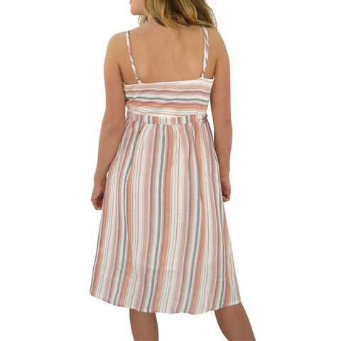 Weekend Vibes Tie Waist Striped Dress in Salmon