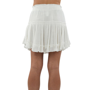 Womens Rouge Ruffle Skirt in White - Brother's on the Boulevard